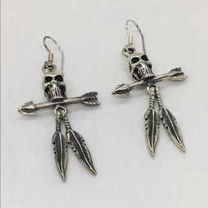 Skull & Arrows Silver Fishhook Dangle Earrings UEC